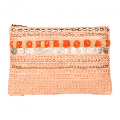ZIPPER POUCH WITH POMPOM AND SEQUIN